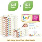 Uni Baby Sensitive Islak Havlu 12'li Ekonomik Fırsat Paketi 12×56 (672 Yaprak)
