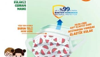 Evony Elastik Kulaklı Çocuk Kids Maske 100 Adet