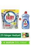 Fairy Platinum 90 Yıkama Tablet Limon Kokulu + Platinum 500 ml Bulaşık Deterjanı + Sünger