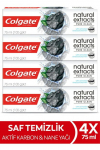 Colgate Natural Extracts Aktif Karbon ve Nane Saf Temizlik Diş Macunu 75 ml x 4 Adet