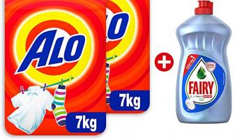 Alo Beyazlar ve Renkliler için Toz Çamaşır Deterjanı, 2×7 kg (14 kg) + Fairy Hijyen Sıvı Bulaşık Deterjanı, 500ml